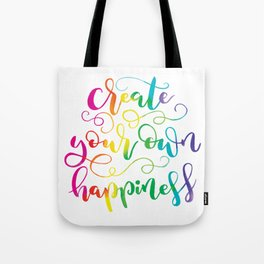 Create Your Own Happiness | Original Rainbow Palette Tote Bag