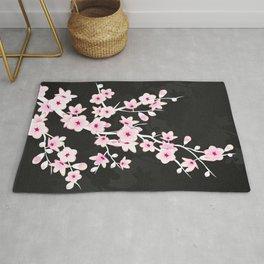 Pink Black Cherry Blossom Rug