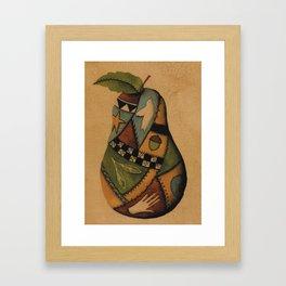Crazy Quilt Pear Framed Art Print