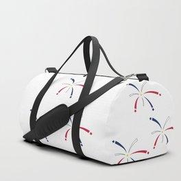 Patriotic Firework Blue, White, Red Duffle Bag