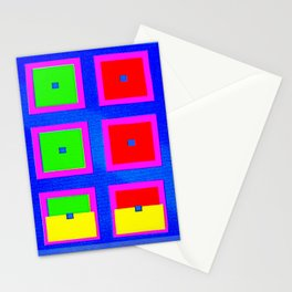 Digital Abstract with red squares on blue Stationery Cards