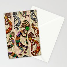Kokopelli Rainbow Colors on Tribal Pattern  Stationery Cards