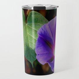 Beautiful Single Morning Glory Flower and Leaf Travel Mug
