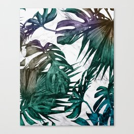 Tropical Palm Leaves on Marble Canvas Print
