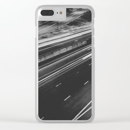 Seattle at Night - Black and White Clear iPhone Case