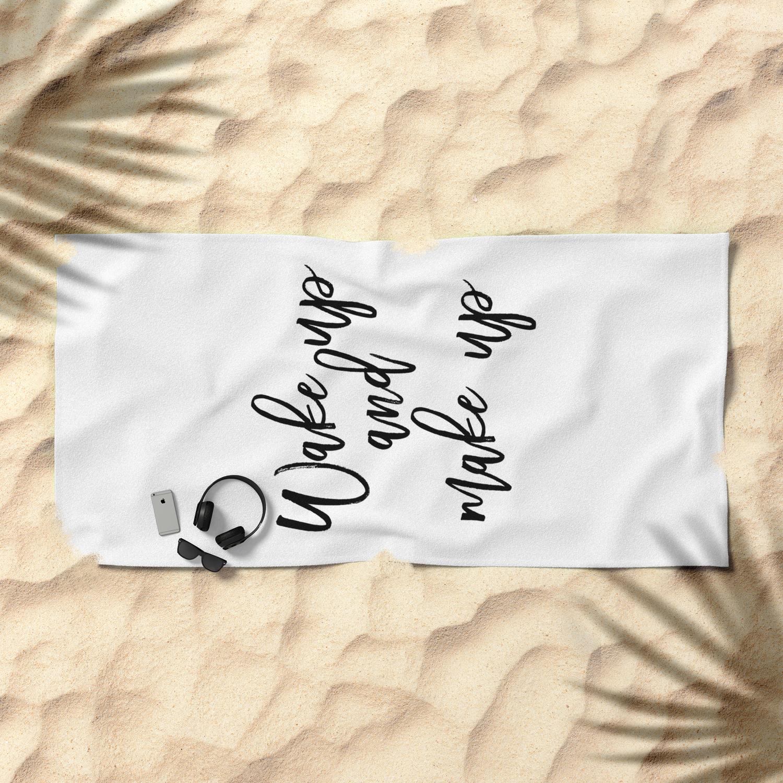 Motivational Print Wake Up And Makeup Printable Art Bathroom Wall Decor Girls Art Bedroom Wall Beach Towel