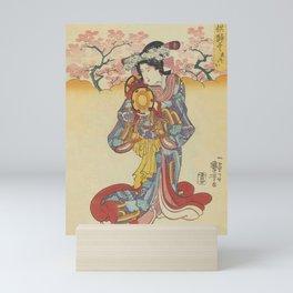 Japanese GEISHA Playing Drum Blossom Pink Flowers Trees Japan Vintage Print Art Wall Hanging Interior Decor Mini Art Print