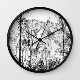Black and white tree photography - Watercolor series #5 Wall Clock