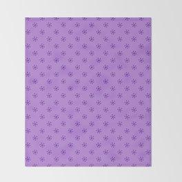 Indigo Violet on Lavender Violet Snowflakes Throw Blanket