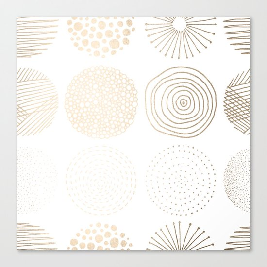 Simply Mod Circles in White Gold Sands on White Canvas Print