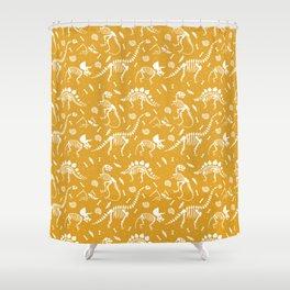 Dinosaur Fossils on Mustard Yellow Shower Curtain