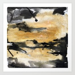 Black and Gold Brush Stroke Abstract Art Print