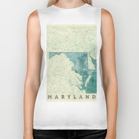 maryland Biker Tanks featuring Maryland State Map Blue Vintage by City Art Posters