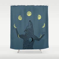 ilovedoodle Shower Curtains featuring Moon Juggler by I Love Doodle