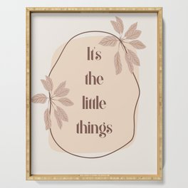 It's The Little Things Boho Quote Art Print | Typography Design Serving Tray