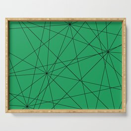 Fractal pattern of black intersecting lines on a lush green background. Serving Tray