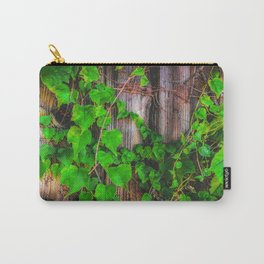closeup green ivy leaves with wood wall background Carry-All Pouch