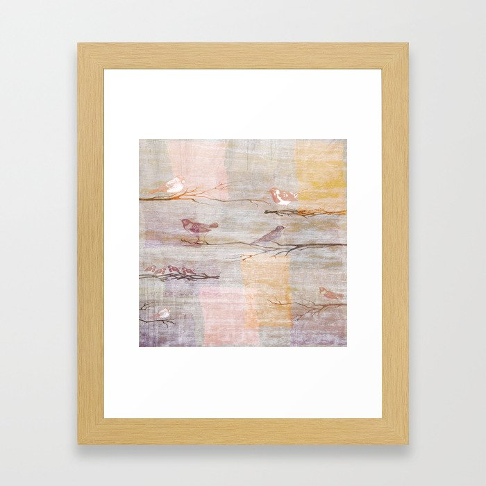 Golden Pink Birds Framed Art Print