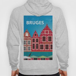 Bruges, Belgium - Skyline Illustration by Loose Petals Hoody