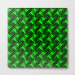 Tile of bright green squares and triangles in dark. Metal Print