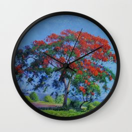 Royal Poinciana tree orange floral landscape painting by Domingo Ramos Wall Clock