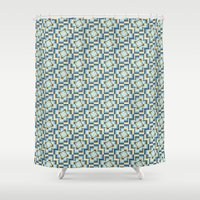 tetris Shower Curtains featuring Tetris Kaleidoscope by Philippa Friswell