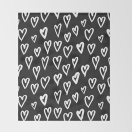 Pattern with hand-drawn Hearts Throw Blanket