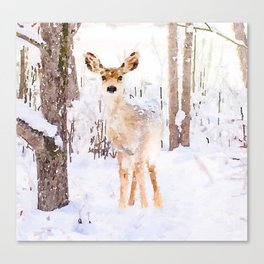 Little Deer in the Snow Canvas Print