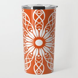 Orange flower mandala Travel Mug