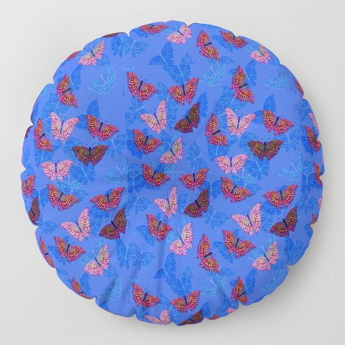 BlueSmallButterflies Floor Pillow