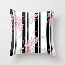 Floral Stripe Throw Pillow