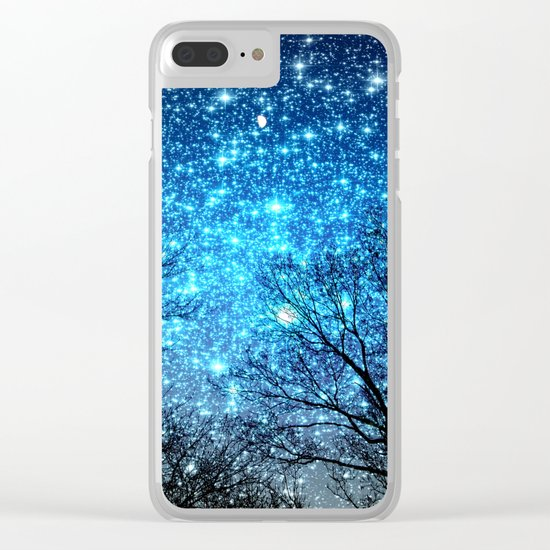 Black Trees Blue SPACE Clear iPhone Case