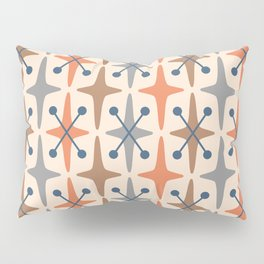 Mid Century Modern Abstract Star Pattern 941 Orange Brown Gray and Blue Pillow Sham