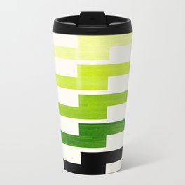 Minimalist Mid Century Modern Sap Green Watercolor Painting Lightning Bolt Zig Zag Pattern With Blac Travel Mug