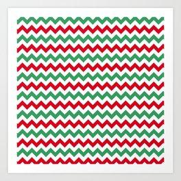 Christmas Chevron Print Art Print