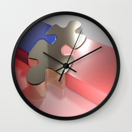 Golden puzzle joins blue and pink puzzle pieces - 3D rendering Wall Clock