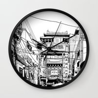 kobe Wall Clocks featuring Yokohama - China town by parisian samurai studio