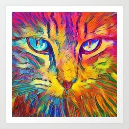 Neon Rainbow Cat Art Print
