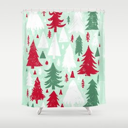 Mint, Red & Green Pine Trees Shower Curtain