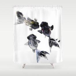 Black Moor, Feng Shui Koi Fish Art, Three Fish black fish decor Shower Curtain