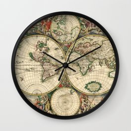 Old map of world (both hemispheres) Wall Clock