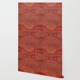 Bohemian Medallion II // 15th Century Old Distressed Red Green Colorful Ornate Accent Rug Pattern Wallpaper