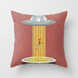 Invasion of spaghetti Throw Pillow
