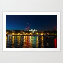 Victoria Embankment, London, at night Art Print