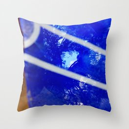 Tree reflection in blue glass Throw Pillow