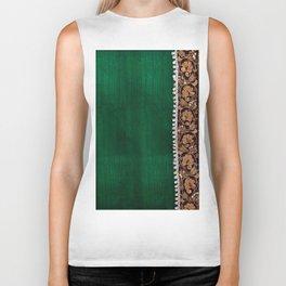 -A11- Tradtional Textile Moroccan Green Artwork. Biker Tank