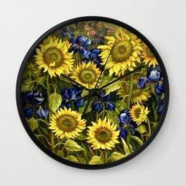 Sunflowers & Blue Irises by Vincent van Gogh Wall Clock