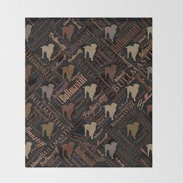 Bullmastiff Dog Word Art pattern Throw Blanket
