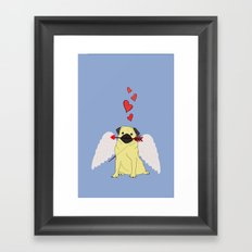 Cupid Pug Framed Art Print
