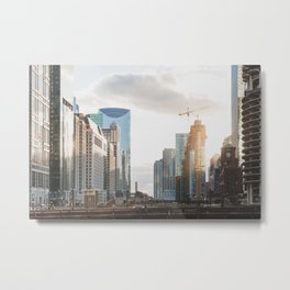 Sunset on State Street - Chicago Photography Metal Print